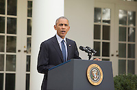 United States President Barack Obama makes a statement on the ratification of The Paris Agreement which deals with greenhouse gases emissions mitigation, adaptation and finance starting in the year 2020 within the United Nations Framework Convention on Climate Change (UNFCCC) in the Rose Garden of the White House in Washington, DC, October 5, 2016.<br /> Credit: Chris Kleponis / Pool via CNP /MediaPunch