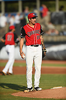 Hickory Crawdads starting pitcher Hans Crouse (10) during a game against the West Virginia Power at L.P. Frans Stadium on July 25, 2019 in Hickory, North Carolina. The Power defeated the Crawdads 3-2. (Tracy Proffitt/Four Seam Images)