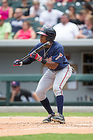Mallex Smith (8) of the Gwinnett Braves squares to bunt against the Charlotte Knights at BB&T BallPark on July 3, 2015 in Charlotte, North Carolina.  The Braves defeated the Knights 11-4 in game one of a day-night double header.  (Brian Westerholt/Four Seam Images)