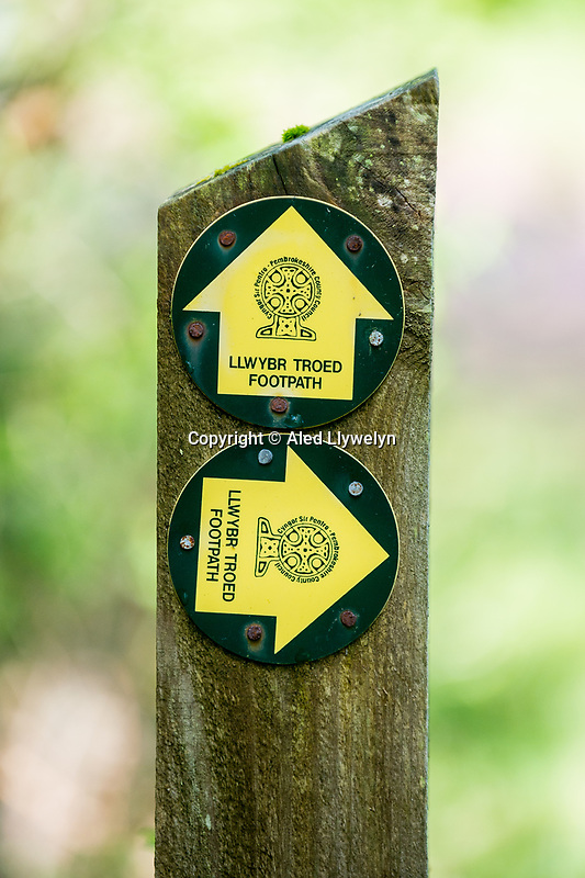 Footpath signs at Canaston Woods, Pembrokeshire, Wales, UK