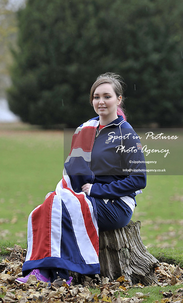 Jennifer Mcintosh (Womens 50m 3 positions) wrapped in the Union flag. TeamGB announcement of shooting athletes for Rio 2016 Olympics. Bisham Abbey. Marlow. Buckinghamshire. England. UK. 10/11/2015. MANDATORY Credit Garry Bowden/SIPPA - NO UNAUTHORISED USE - 07837 394578