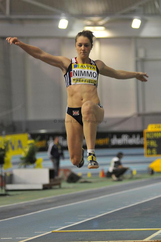 Photo: Tony Oudot/Richard Lane Photography. Aviva World Trials & UK Championships. 14/02/2010. .Womens Long Jump, .Jade Nimmo.