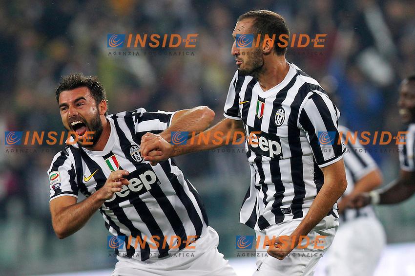 Esultanza dopo il gol Giorgio Chiellini Juventus, Goal Celebration,<br /> Torino 06-10-2013<br /> Juventus Stadium <br /> Football Calcio 2013/2014 Serie A <br /> Juventus - Milan<br /> Foto Marco Bertorello Insidefoto