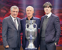 Nationaltrainer Gruppe F: Nationaltrainer Fernando Santos (Portugal), Nationaltrainer Didier Deschamps (Frankreich, France), Bundestrainer Joachim Loew (Deutschland Germany) - 30.11.2019: UEFA EURO2020 Auslosung, Romexpo Bukarest, DISCLAIMER: UEFA regulations prohibit any use of photographs as image sequences and/or quasi-video.