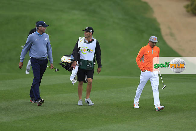 Matt Kucher (USA) and Rickie Fowler (USA) on the 2nd fairway during the final round of the Waste Management Phoenix Open, TPC Scottsdale, Scottsdale, Arisona, USA. 03/02/2019.<br /> Picture Fran Caffrey / Golffile.ie<br /> <br /> All photo usage must carry mandatory copyright credit (© Golffile | Fran Caffrey)