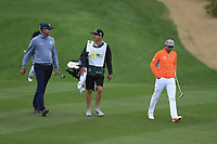 Matt Kucher (USA) and Rickie Fowler (USA) on the 2nd fairway during the final round of the Waste Management Phoenix Open, TPC Scottsdale, Scottsdale, Arisona, USA. 03/02/2019.<br /> Picture Fran Caffrey / Golffile.ie<br /> <br /> All photo usage must carry mandatory copyright credit (&copy; Golffile | Fran Caffrey)