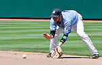 Aces second baseman Taylor Harbin makes the play during the Tucson Padres game played on Sunday afternoon June 17, 2012 at Aces Ballpark in Reno, NV.