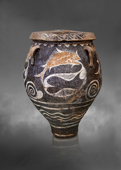 Minoan Kamares Ware jar with natural decorations of fish in a net, Phaistos 1900-1700 BC; Heraklion Archaeological  Museum, grey background.<br /> <br /> This pot is one of the earliest known examples of the shift of Minoan art towards depicting the natural world