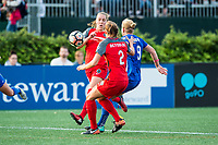 Boston, MA - Sunday September 10, 2017: Celeste Boureille, Katherine Reynolds and Natasha Dowie during a regular season National Women's Soccer League (NWSL) match between the Boston Breakers and Portland Thorns FC at Jordan Field.