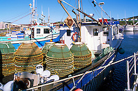 Ile du Havre-Aubert, Iles de la Madeleine, Quebec, Canada - Commercial Fishing Boats with Crab Traps docked in Port du Millerand - (Amherst Island, Magdalen Islands)