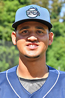 Asheville Tourists pitcher Eris Filpo (32) poses for a photo before a game against the Lakewood BlueClaws at McCormick Field on August 3, 2019 in Asheville, North Carolina. The BlueClaws defeated the Tourists 10-6. (Tony Farlow/Four Seam Images)