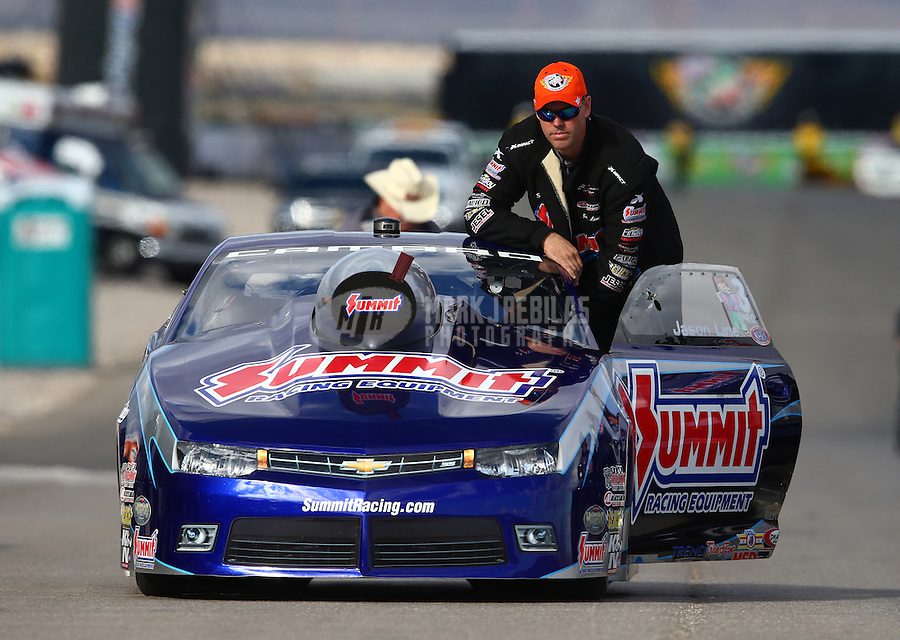 Nov 2, 2014; Las Vegas, NV, USA; NHRA pro stock driver Jason Line during the Toyota Nationals at The Strip at Las Vegas Motor Speedway. Mandatory Credit: Mark J. Rebilas-USA TODAY Sports