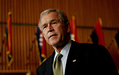United States President George W. Bush  talks to media  at Walter Reed Army Medical Center in Washington DC on July 1, 2005  after visiting soldiers injured during  Operation Iraqi Freedom. <br /> Credit: Dennis Brack - Pool via CNP