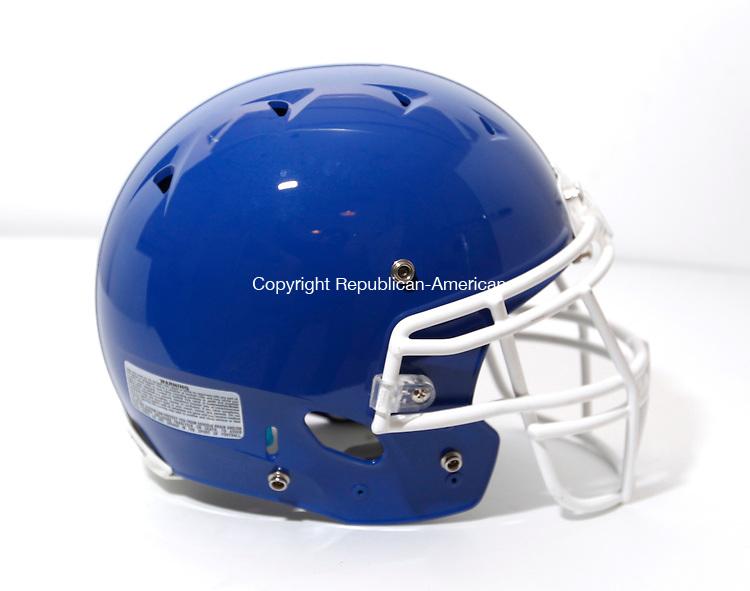 Waterbury, CT- 10, November 2010-111010CM14 Lewis Mills helmet.   Christopher Massa Republican-American