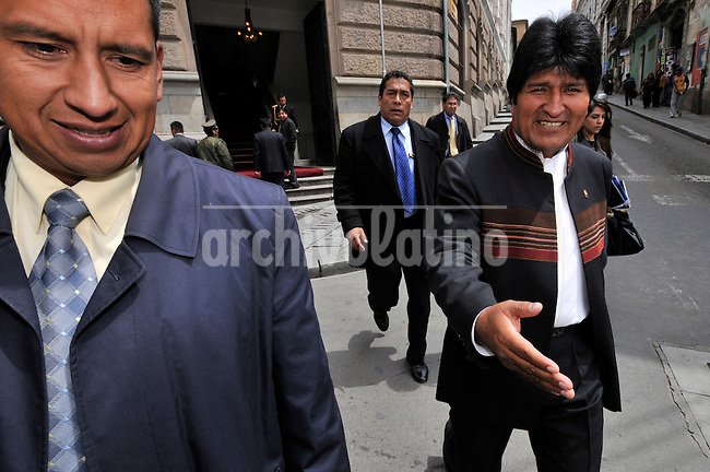President of Bolivia Evo Morales walks through downtown La Paz city on his way to the Presidential Palace, few days before the national referendum on a new political constitution that he wants for the country.