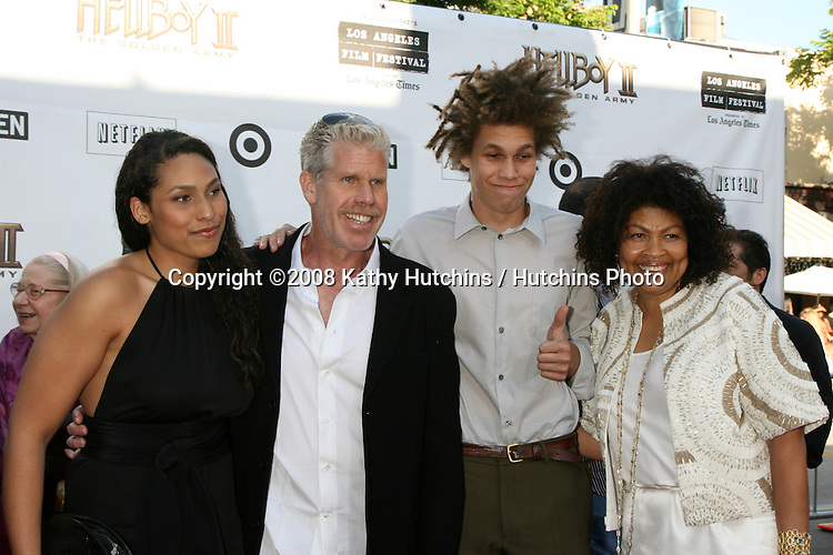 "Ron Perlman and family at the Premiere of  ""Hellboy 2"" at the Village Theater in Westwood, CA on.June 28, 2008.©2008 Kathy Hutchins / Hutchins Photo ."