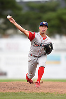 Williamsport Crosscutters pitcher Matt Hockenberry (31) delivers a pitch during a game against the Batavia Muckdogs on July 27, 2014 at Dwyer Stadium in Batavia, New York.  Batavia defeated Williamsport 6-5.  (Mike Janes/Four Seam Images)