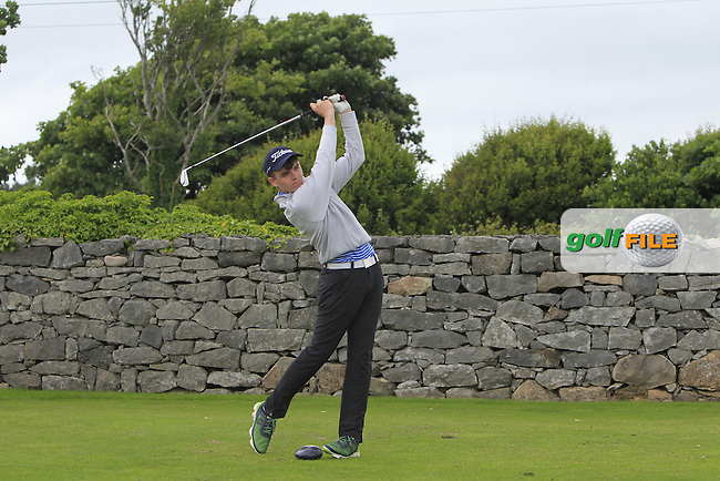 Ronan Hynes (Oughterard) on the 1st tee during R2 of the 2016 Connacht U18 Boys Open, played at Galway Golf Club, Galway, Galway, Ireland. 06/07/2016. <br /> Picture: Thos Caffrey | Golffile<br /> <br /> All photos usage must carry mandatory copyright credit   (&copy; Golffile | Thos Caffrey)
