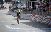 Ryder Hesjedal (CAN/Cannondale-Garmin) finishes  2nd after stage winner Aru<br /> <br /> Giro d'Italia 2015<br /> stage 19: Gravellona Toce - Cervinia (236km)