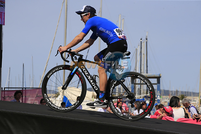 Gazprom-Rusvelo at sign on before Stage 1 of the 100th edition of the Giro d'Italia 2017, running 206km from Alghero to Olbia, Sardinia, Italy. 4th May 2017.<br /> Picture: Eoin Clarke   Cyclefile<br /> <br /> <br /> All photos usage must carry mandatory copyright credit (&copy; Cyclefile   Eoin Clarke)