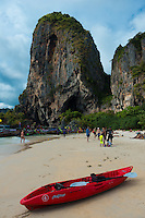 Red kayak on Thailand beach in Krabi