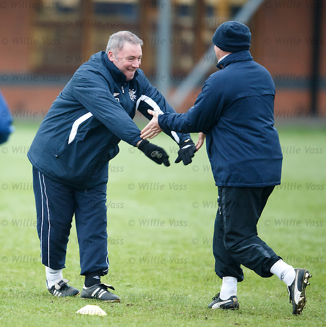 Ally McCoist and Kenny McDowall after sorting out a difference of opinions with a hi-lo five