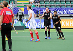 The Hague, Netherlands, June 08: Hugo Inglis #29 of New Zealand and Jared Panchia #14 of New Zealand react to an umpires call during the second half during the field hockey group match (Men - Group B) between the Black Sticks of New Zealand and Germany on June 8, 2014 during the World Cup 2014 at Kyocera Stadium in The Hague, Netherlands. Final score 3-5 (1-3) (Photo by Dirk Markgraf / www.265-images.com) *** Local caption ***