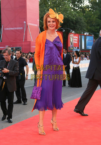 "MARINA RIPA DI MEANA.""The Queen"" Premiere during The 63rd International Venice Film Festival held at Palazzo del Cinema, Lido, Venice, Italy, 02 September 2006..full length purple dress orange jacket cardigan hat butterfly netting.Ref: ADM/ZL.www.capitalpictures.com.sales@capitalpictures.com.©Zach Lipp/AdMedia/Capital Pictures."