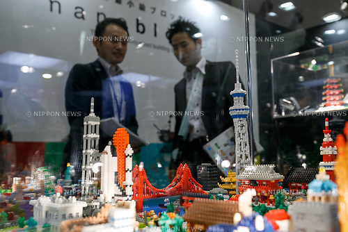 Visitors look at world famous buildings made by nano blocks at the International Tokyo Toy Show 2017 in Tokyo Big Sight on June 1, 2017, Tokyo, Japan. Japan's biggest exhibition for the toy industry showcases some 35,000 toys from 153 toy makers from Japan and overseas. The show runs from June 1st to 4th. (Photo by Rodrigo Reyes Marin/AFLO)