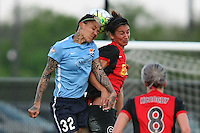 Piscataway, NJ, May 7, 2016. Tasha Kai (32) of Sky Blue FC and Abby Erceg (6) of the Western New York Flash vie for a header.  The Western New York Flash defeated Sky Blue FC, 2-1, in a National Women's Soccer League (NWSL) match at Yurcak Field.