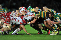 A general view of a scrum. Aviva Premiership match, between Northampton Saints and Gloucester Rugby on November 27, 2015 at Franklin's Gardens in Northampton, England. Photo by: Patrick Khachfe / JMP