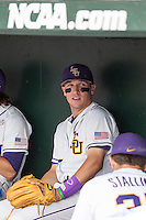 LSU Tigers shortstop Alex Bregman (8) in the dugout before the NCAA College World Series game against the TCU Horned Frogs in the on June 14, 2015 at TD Ameritrade Park in Omaha, Nebraska. TCU defeated LSU 10-3. (Andrew Woolley/Four Seam Images)
