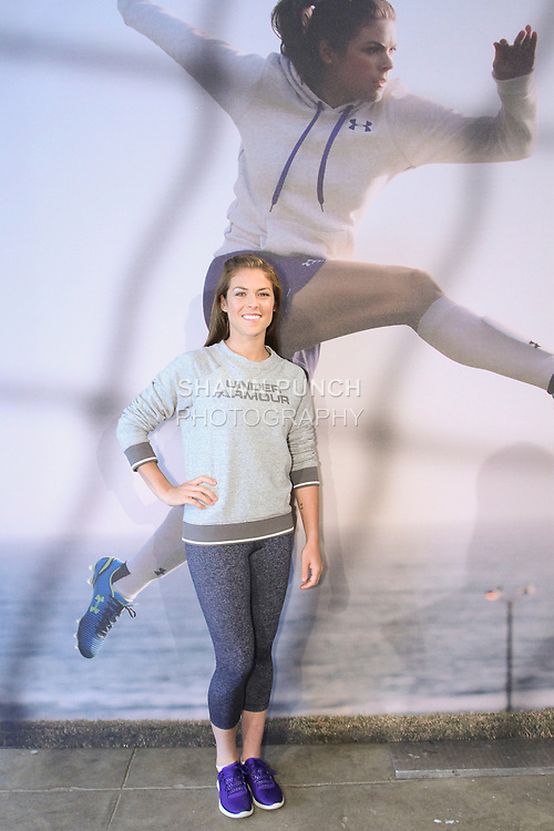 "Kelley O'Hara, Olympic gold medal winning Soccer player, posing during the Under Armour, ""I will what I want"" global women's campaign launch, on July 31, 2014, in New York City."