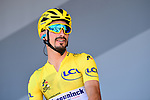 Race leader Yellow Jersey Julian Alaphilippe (FRA) Deceuninck-Quick Step at sign on before Stage 5 of the 2019 Tour de France running 175.5km from Saint-Die-des-Vosges to Colmar, France. 10th July 2019.<br /> Picture: ASO/Alex Broadway | Cyclefile<br /> All photos usage must carry mandatory copyright credit (© Cyclefile | ASO/Alex Broadway)