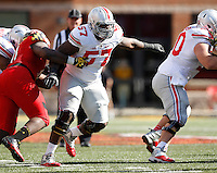 Ohio State Buckeyes offensive lineman Chase Farris (57) makes a block during the NCAA football game against the Maryland Terrapins at Byrd Stadium in College Park, Maryland on Oct. 4, 2014. (Adam Cairns / The Columbus Dispatch)