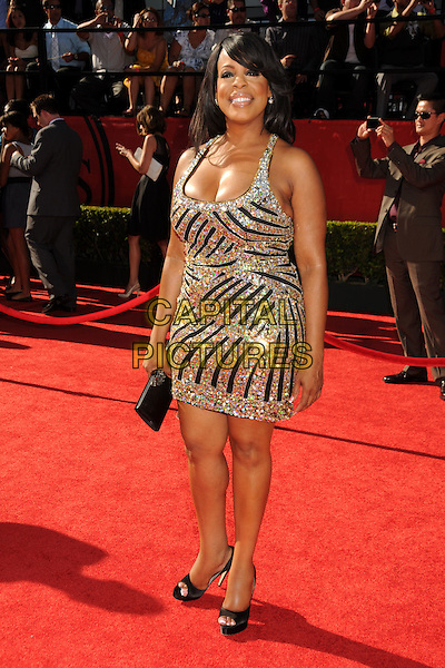 NIECY NASH .18th Annual ESPY Awards - Arrivals held at Nokia Theatre L.A. Live, Los Angeles, California, USA..July 14th, 2010.espys full length black silver gold embellished jewel encrusted dress clutch bag black .CAP/ADM/BP.©Byron Purvis/AdMedia/Capital Pictures.