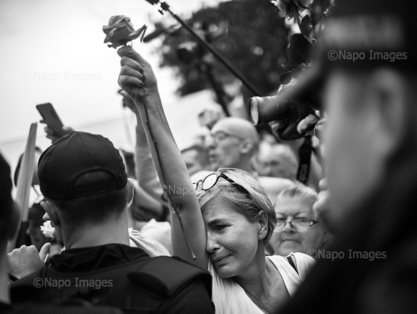 Warsaw 20/07/2017 Poland<br /> Anti-Pis government protesters standing by the Sejm, Polish parliament are reacting after the bill to chenge the way of electing the Supreme Court judges, which curbs rule of law in Poland has been passed.<br /> Photo: Adam Lach / Napo Images<br /> <br /> Warszawa 20/07/2017<br /> Protestujacy pod sejmem reaguja na informacje o tym ze ustawa zmieniajaca sposob wybierania sedziow Sadow Najwyzszego zostalo uchwalone.<br /> Fot: Adam Lach / Napo Images