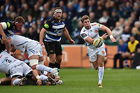 Will Chudley of Exeter Chiefs passes the ball. West Country Challenge Cup match, between Bath Rugby and Exeter Chiefs on October 10, 2015 at the Recreation Ground in Bath, England. Photo by: Patrick Khachfe / Onside Images