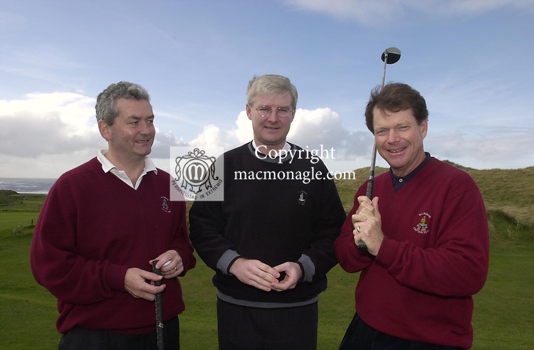 Tom Watson, Captain of Ballybunion Golf Club for 2000 pictured at the County Kerry course yesterday with from left, Fintan Scannell, joint captain and and Padraig Liston of Murphy's Brewery sponsors of the event..©Picture by Don MacMonagle.6 Port Road, Killarney Co. Kerry, Ireland.Tel: 00-353+64+32833