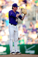 LSU Tigers pitcher Ryan Eades #37 looks in for the catchers sign against the Mississippi State Bulldogs during the NCAA baseball game on March 17, 2012 at Alex Box Stadium in Baton Rouge, Louisiana. The 10th-ranked LSU Tigers beat #21 Mississippi State, 4-3. (Andrew Woolley / Four Seam Images).