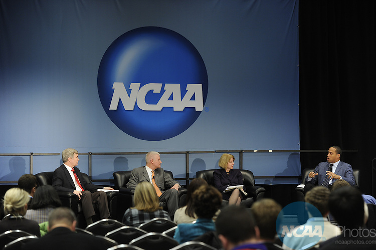 12 JAN 2011: The Association-Wide Educational Session - Domestic Violence and Student-Athletes at the 2011 NCAA Convention held at the Grand Hyatt and Convention Center in San Antonio, TX. Stephen Nowland/NCAA Photos .Pictured: Allen Groves, Ada Meloy, Mark Emmert, Donald McPherson