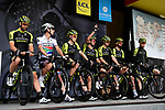 Mitchelton-Scott on stage at the team presentation before Stage 1 of the Criterium du Dauphine 2019, running 142km from Aurillac to Jussac, France. 9th June 2019<br /> Picture: ASO/Alex Broadway | Cyclefile<br /> All photos usage must carry mandatory copyright credit (© Cyclefile | ASO/Alex Broadway)