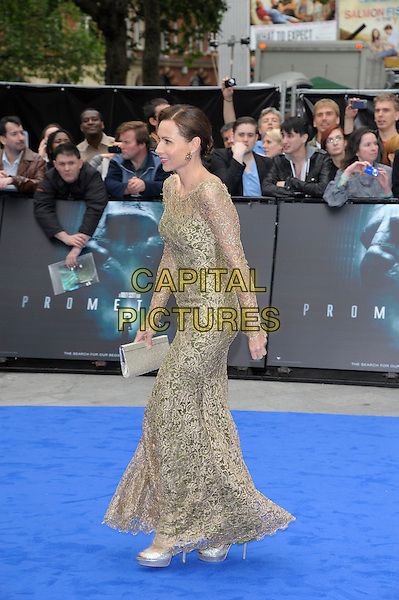 Minnie Driver.'Prometheus' world film premiere, Empire cinema, Leicester Square, London, England..31st May 2012.full length silver gold sheer lace dress side profile long sleeves.CAP/PL.©Phil Loftus/Capital Pictures.