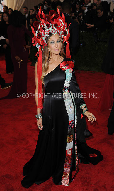 WWW.ACEPIXS.COM<br /> <br /> May 4, 2015, New York City<br /> <br /> Sarah Jessica Parker attending the Costume Institute Benefit Gala celebrating the opening of China: Through the Looking Glass at The Metropolitan Museum of Art on May 4, 2015 in New York City.<br /> <br /> By Line: Kristin Callahan/ACE Pictures<br /> <br /> <br /> ACE Pictures, Inc.<br /> tel: 646 769 0430<br /> Email: info@acepixs.com<br /> www.acepixs.com