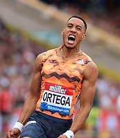 Orlando Ortega of Spain celebrates winning the Men's 110m Hurdles Final during the Muller Grand Prix  IAAF Diamond League meeting at Alexander Stadium, Perry Barr, Birmingham.<br /> Picture by Alan Stanford +44 7915 056117<br /> 18/08/2018