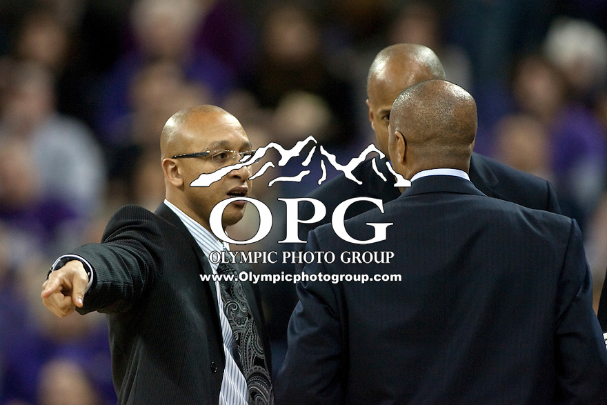Jan 21, 2012:  Washington assistant coach Raphael Chilliouse against Stanford.  Washington defeated Stanford 76-63 at Alaska Airlines Arena Seattle, Washington...