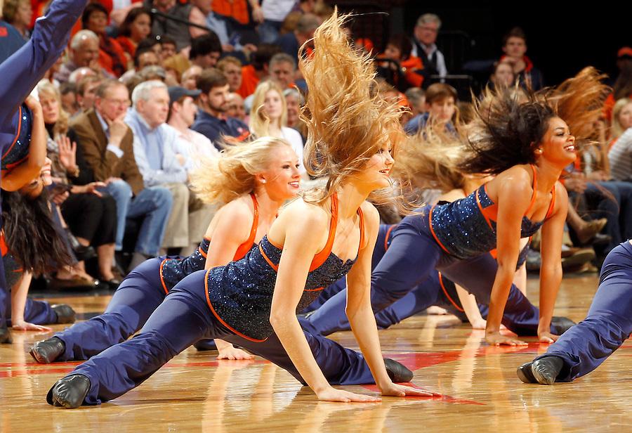 Virginia dance team dancers perform during the game Saturday, February 22, 2014,  in Charlottesville, VA. Virginia won 70-49.