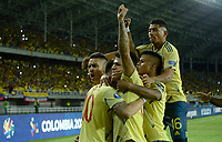 PEREIRA - COLOMBIA, 18-01-2020: Jorge Carrascal de Colombia celebra después de anotar el primer gol de su equipo durante partido entre Colombia y Argentina por la fecha 1, grupo A, del CONMEBOL Preolímpico Colombia 2020 jugado en el estadio Hernán Ramírez Villegas de Pereira, Colombia. /  Jorge Carrascal of Colombia celebrates after scoring the first goal of his team during the match between Colombia and Argentina for the date 1, group A, for the CONMEBOL Pre-Olympic Tournament Colombia 2020 played at Hernan Ramirez Villegas stadium in Pereira, Colombia. Photo: VizzorImage / Julian Medina / Cont