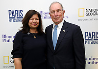 "LONDON, UK - DECEMBER 11: Shirley Rodrigues and Michael Bloomberg attend the London Premiere of Bloomberg and National Geographic's ""Paris to Pittsburgh"" at the BAFTA Theatre on December 11, 2018 in London, UK. (Photo by Vianney Le Caer/National Geographic/PictureGroup)"