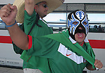 11 June 2006: A Mexico fan in a wrestling mask at the train station on the way to the game. Mexico played Iran at the Frankenstadion in Nuremberg, Germany in match 7, a Group D first round game, of the 2006 FIFA World Cup.